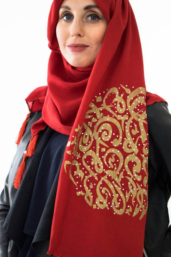 Diamante Hijab - Red- Hidden Pearls