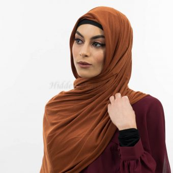 Everyday Plain Jersey Hijab - Burnt Orange