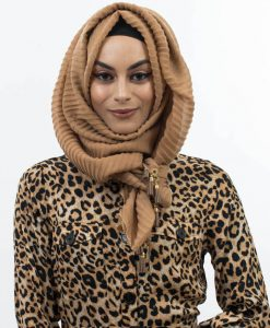 Leather Tassel With Lace Hijab Golden Brown