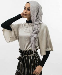 Metallic Pleated Silk Hijab Silver