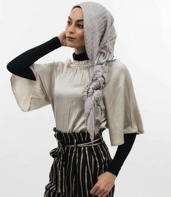 Metallic Pleated Silk Hijab Silver