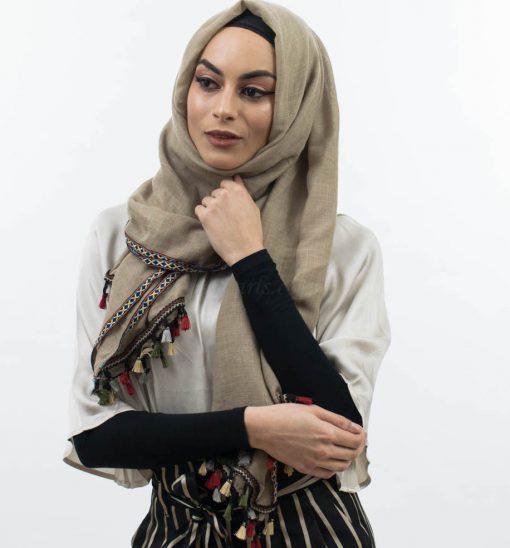 Moroccan Tassel Hijab Stone