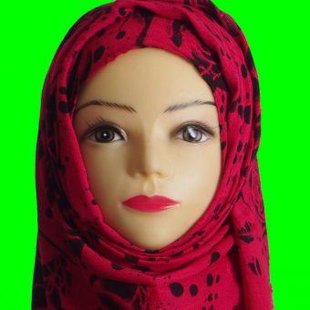 Black & Red Floral Hijab