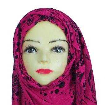 Black & Pink Floral Hijab