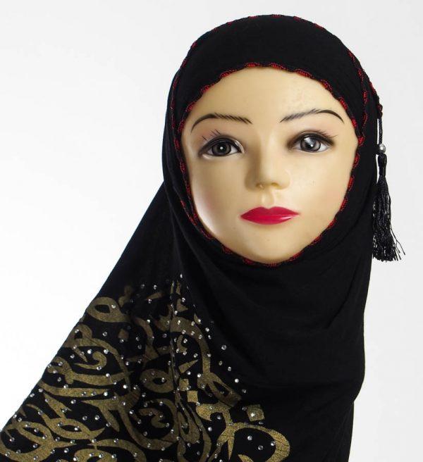 Diamante Black Hijab