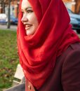 Plain Hijab Red Outdoor