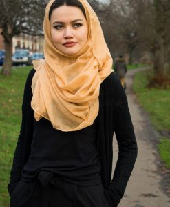 Plain Hijab Yellow Wheat Outdoors