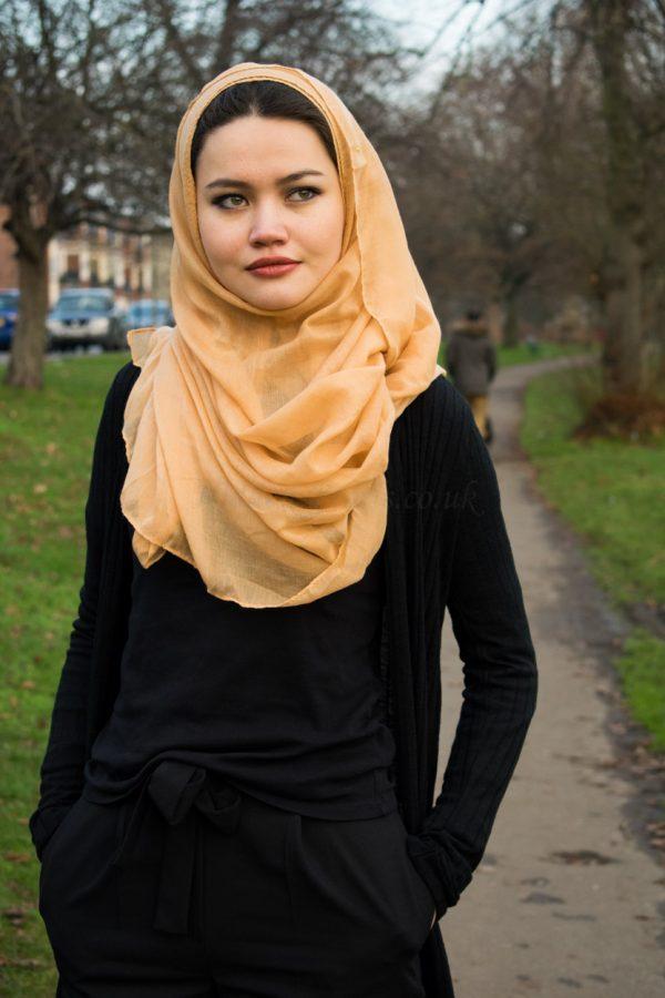Plain Hijab Yellow Wheat Outdoors