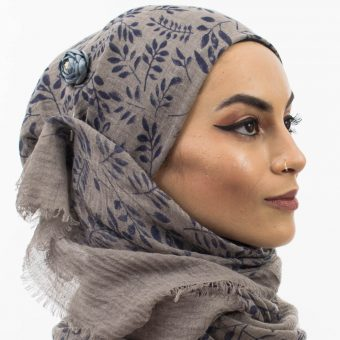 Printed Leaves Hijab Taupe Grey