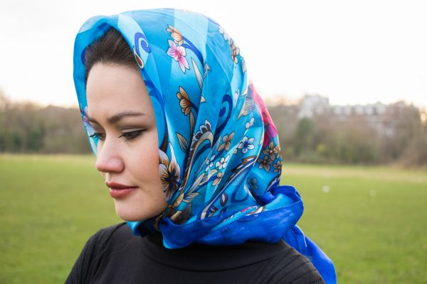 Turkish Hijab Floral Blue & Navy Blue