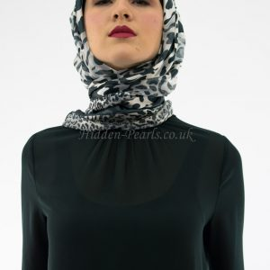 Turkish Hijab Leopard Print Grey & White