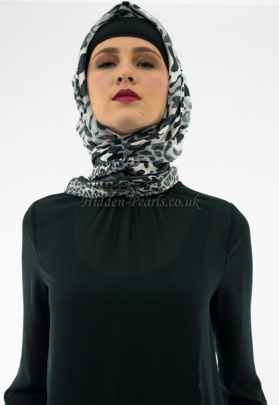 Turkish Hijab Leopard Print Grey & White