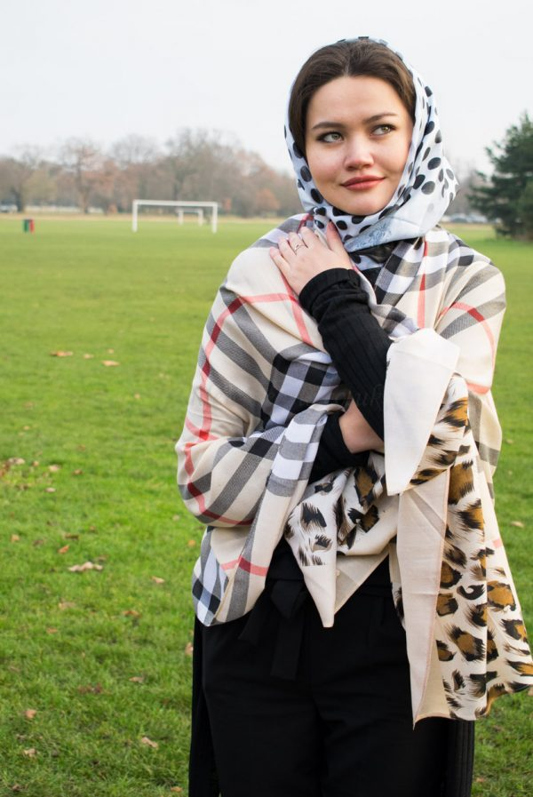 Turkish Hijab Polka Dot Black & White