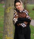 Turkish Hijab Russet & Yellow with Burberry Brown Outdoors 5