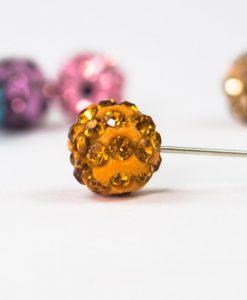 Orange Diamante Globe Hijab Pin