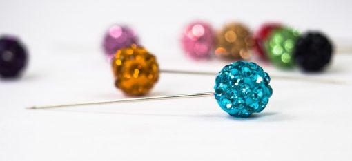 Blue Diamante Globe Hijab Pin