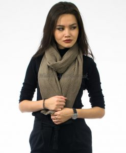 Crinkle Scarf Taupe Green2