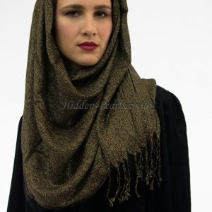 Shimmer Hijab Black & Gold 2