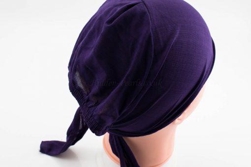 Bonnet Underscarf - Aubergine back - Hidden Pearls