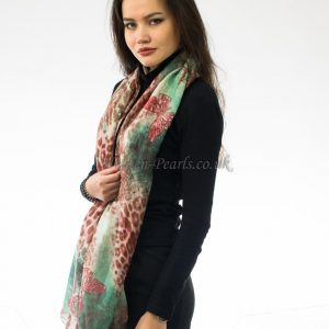 Butterfly Scarf Mint & Brown