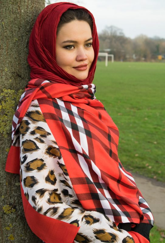 Crinkle Cardinal Red Hijab with Burberry Red Scarf Outdoors
