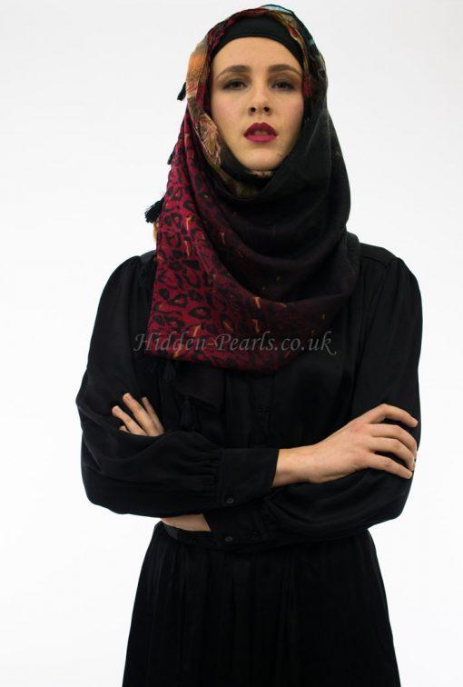 Leopard Print Hijab Blue & Red 2