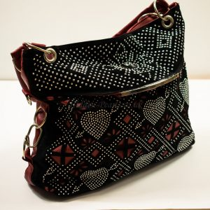 black-red shoulder bag