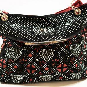 black-red shoulder bag
