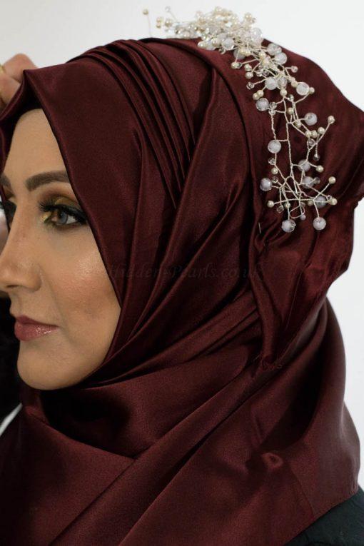 Plain Silk Hijab - Burgundy - Hidden Pearls