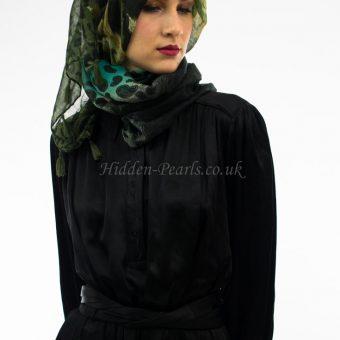 Leopard Print Hijab Sea Green