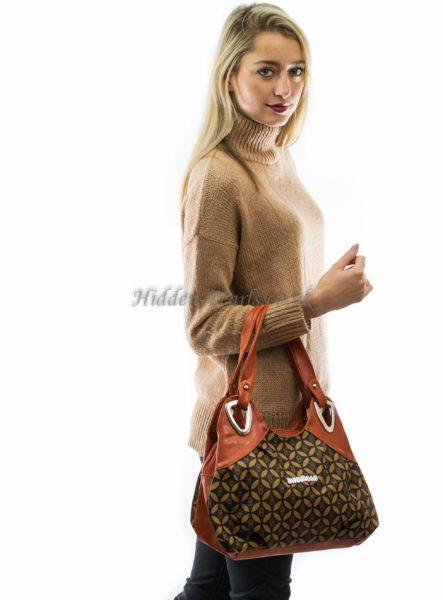 Orange & brown print shoulder bag3