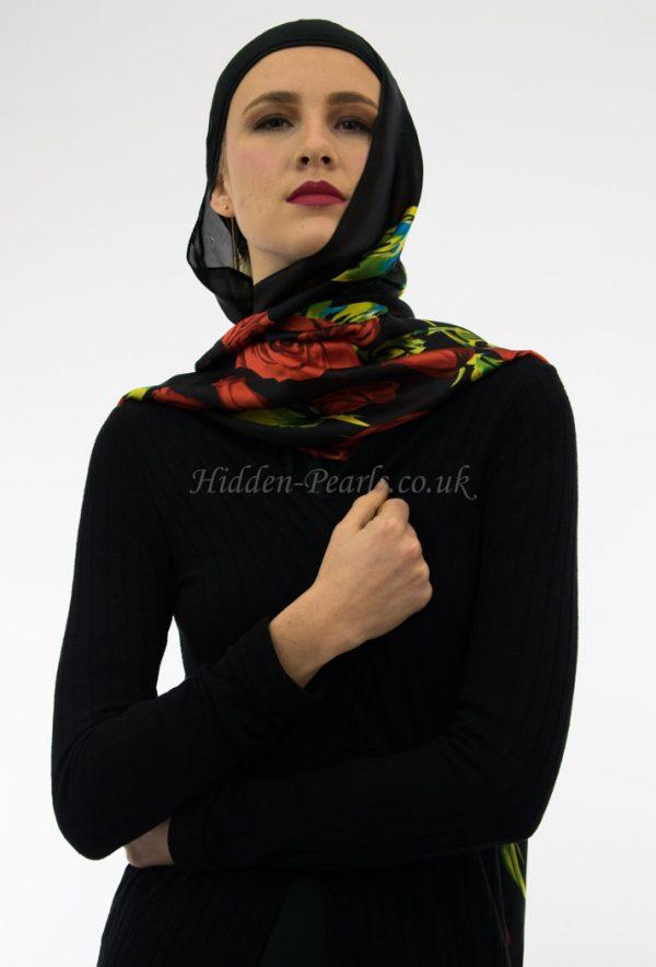 Silk Floral Hijab Black & Red Rose