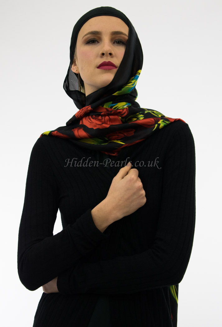 Silk Floral Hijab Black & Red Rose