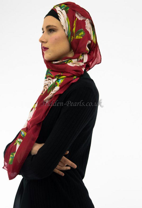 Silk Floral Hijab Red & White Rose