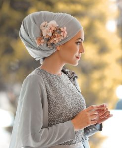 Silk hijab - Silver - Hidden pearls