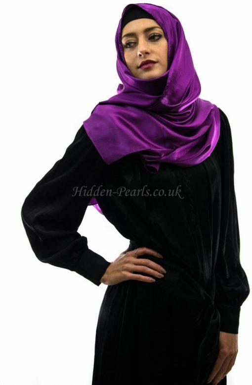 silk plain purple hijab style2