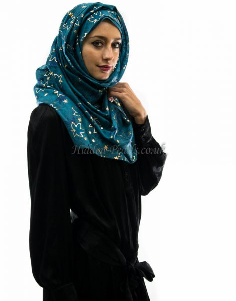 glitter leaves teal hijab style
