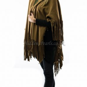 fringed cape tan