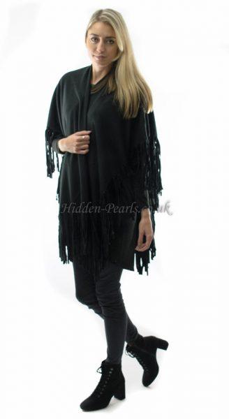 black fringe cape