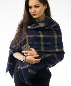 Multi Square Navy Blue Blanket Scarf 2