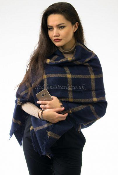 Multi Square Navy Blue Blanket Scarf 2