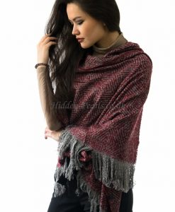 Overzized Fluffy Fringed Scarf Red & Grey 2