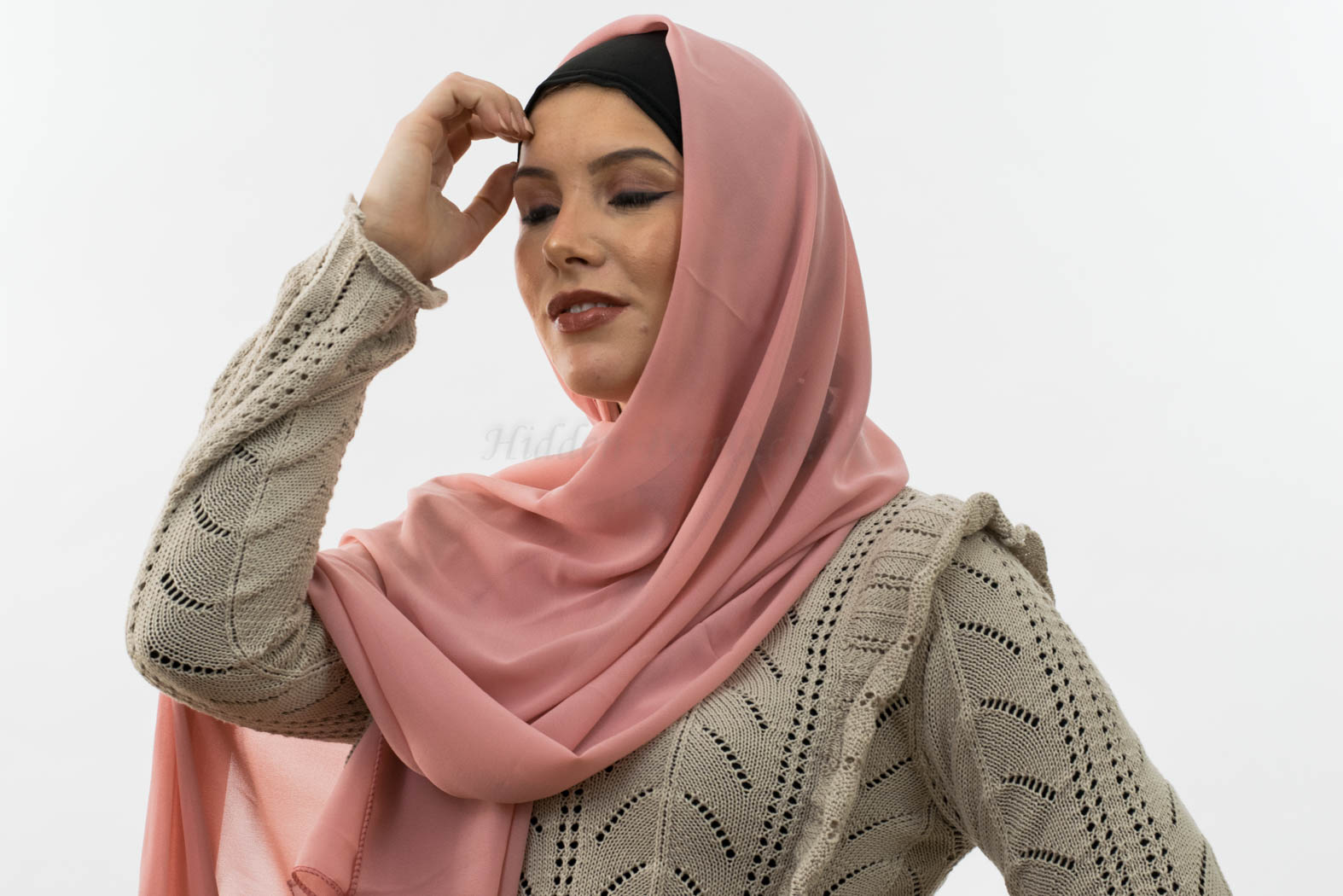Everyday Chiffon Hijab - Peach 5 - Hidden Pearls copy