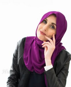 everyday Chiffon Hijab - Purple - Hidden Pearls cropped