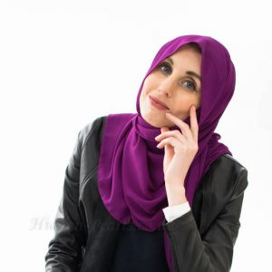 everyday Chiffon Hijab - Purple - Hidden Pearls cropped