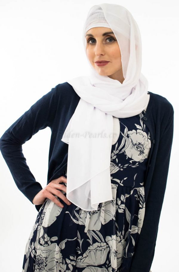 Everyday Chiffon Hijab - White - Hidden Pearls 2