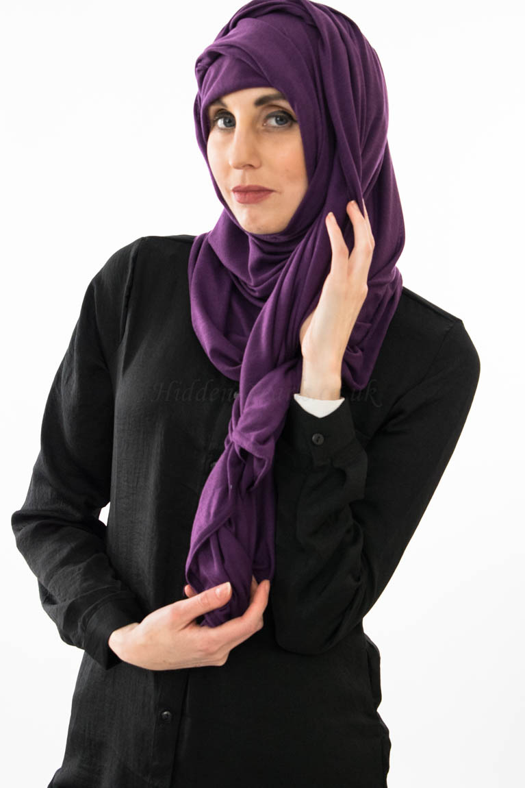 Jersey Plain Hijab - Purple - Hidden Pearls 3