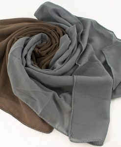 Fusion Chiffon Scarf Grey & Taupe Brown 2