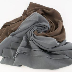 Fusion Chiffon Scarf Grey & Taupe Brown