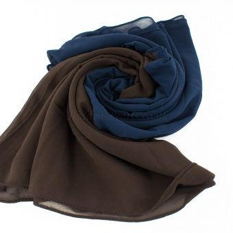 Fusion Chiffon Scarf Midnight blue & chocolate 3